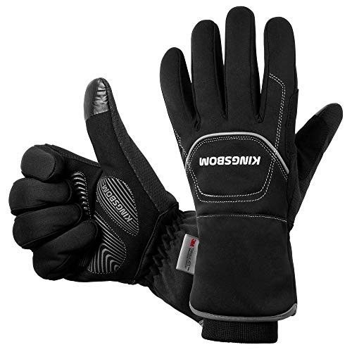 KINGSBOM -40F° Waterproof & Windproof Thermal Gloves - 3M Thinsulate Winter Touch Screen Warm Gloves - for Cycling,Riding,Running,Outdoor Sports - for Women and Men (Black,X-Large)