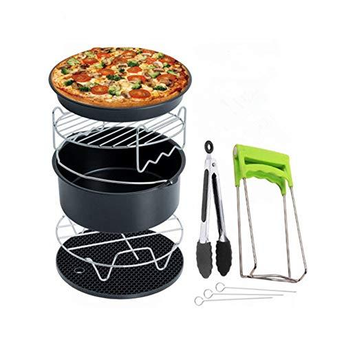 ZSKJ Accessoires 7 pièces, Moule à Pain • Poêle à Pizza • Tapis en Silicone • Grille en Acier Inoxydable • Support en Acier Inoxydable en métal • 3 brochettes de Gril, 3.5QT - 5.8QT