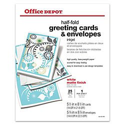 Office Depot(R) Brand Premium Greeting Cards, Half-Fold Matte, 8 1/2in. x 11in., Pack Of 25
