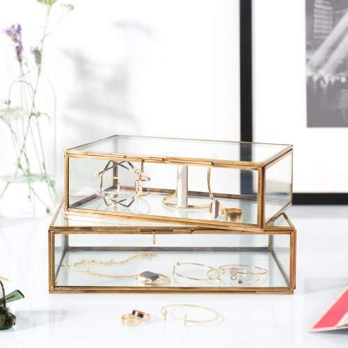 Caja de cristal rectangular vintage de latón, multiusos – organizador de joyas, acento decorativo, regalo de boda, fiesta de novia, decoración de mesa de caramelos, tarros y cajas de 18 x 12 x 5 cm