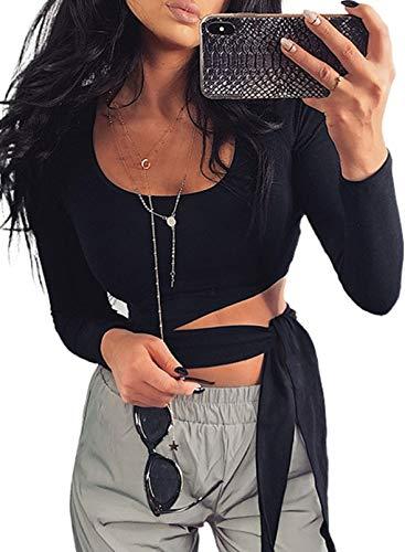 CORAFRITZ Blusa ajustada para mujer, cuello redondo, manga larga, túnica corta con banda cruzada Negro S
