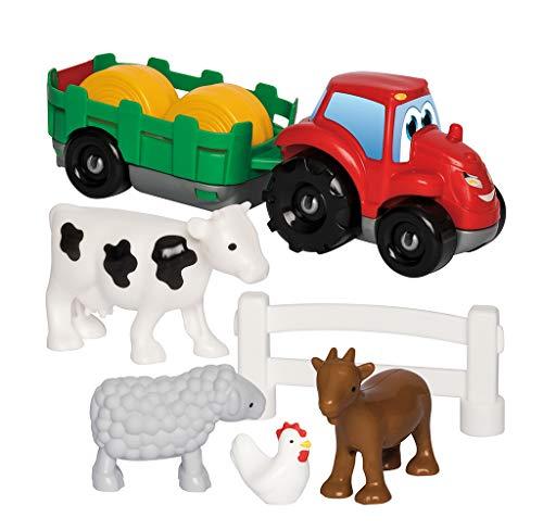 Jouets Ecoiffier -3348 - Coffret voiture + animaux de la ferme Abrick – Jeu de construction pour enfants – Dès 18 mois – Fabriqué en France