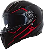 TORC T15B Bluetooth Integrated Full Face Motorcycle Helmet With Graphic (Gloss Black Rush Red, Medium)