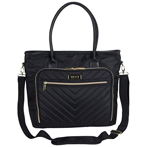 "Kenneth Cole Reaction Chelsea Quilted Chevron 15"" Laptop & Tablet Business Tote With Removeable Shoulder Strap, Black"