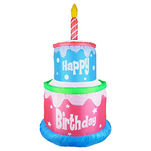 MUMTOP 6 Foot Tall Inflatable Happy Birthday Cake with 1 Candle Indoor Outdoor LED Light Holiday Decorations, Blow up Lighted Garden Decor, Lawn Inflatable Home Yard Party Favor Decoration