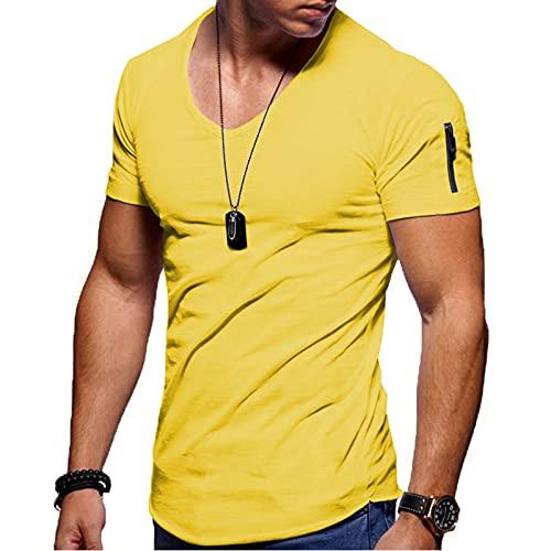 Lässiges Einfarbiges Kurzarm T-Shirt für Herren mit Schmaler Passform und Sportbekleidung mit Rundem Ausschnitt