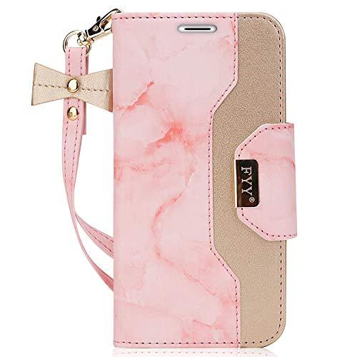 PU Leder Flip Handyhülle für Samsung Galaxy S7 Edge Handytasche,Brieftasche Klappetui Schutzhülle mit Spiegel,Leder Hülle für Galaxy S7 Edge Cover -Marmor Rosa