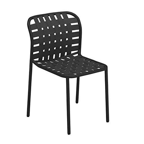 emu Yard Gartenstuhl, schwarz, Grauschwarz Sitz elastische Gurte Grauschwarz BxHxT 51x81x57cm Gestell schwarz