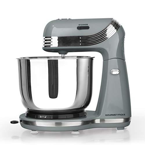 GOURMETmaxx Küchenmaschine mit Rührfunktion, Große Edelstahlschüssel, 2in1 Knetmaschine und Rührmaschine (Silber)