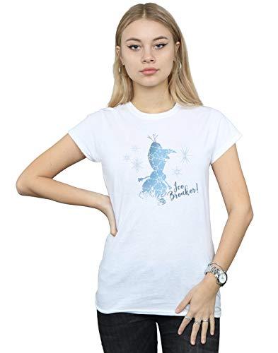 Disney Mujer Frozen 2 Olaf Ice Breaker Camiseta Blanco Medium