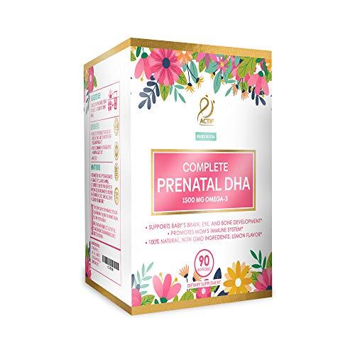 Actif Complete Prenatal DHA with 1500mg Omega-3, 100% Natural, Organic DHA, EPA, Omega 3 - Non-GMO, 90 count