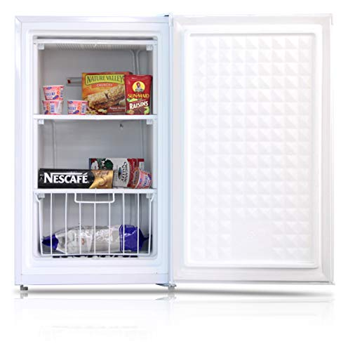 IMPECCA Upright Freezer 3 Cubic Feet Energy Star with Reversible Door, Removable Shelves and Adjustable Thermostat - White