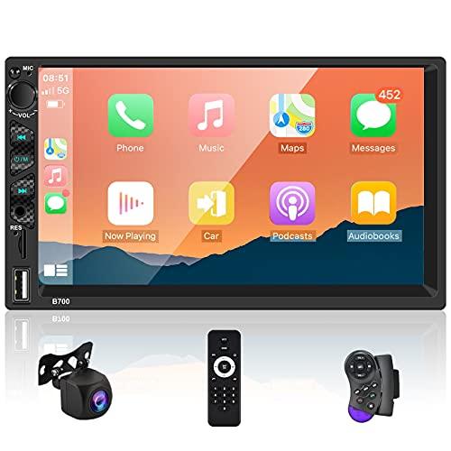 Autoradio 2 Din con Car play e Android Auto, Car Radio con Touch Schermo HD da 7  , Car Stereo Auto con Audio FM Bluetooth Mirror Link + Telecamera di Backup AHD, Microfono Esterno