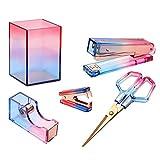Acrylic Desk Accessories,Rainbow Stapler Set,Colorful Tape Dispenser,Staple Remover,Pen Pencil Holder,Scissor, Rosegold Stationary Kit,Home Office Supplies for Women by QUABOA