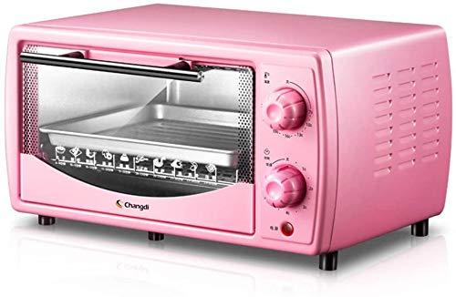 Mini horno tostador automático de 10 l, tubo de cuarzo infrarrojo para equilibrio de 60 minutos, sincronización libre retráctil para hornear red 700 W (rosa) 199 x 363 x 287 mm