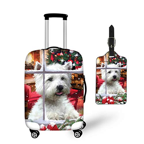 Nopersonality Luggage Cover Suitcase Protector Cover 22 24 26 Christmas Westie Dog Print + Luggage Tag Travel ID Card Holder