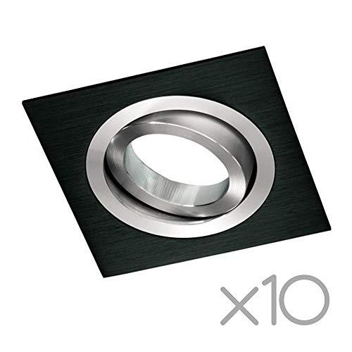 Wonderlamp Clasic W-E0 Foco empotrable cuadrado, Negro, 10 UNIDADES