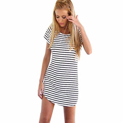 TWIFER Neue Damen Rundhals Sommer Kleider Kurzarm Striped Loose T-Shirt Minikleid