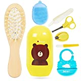 8 Pcs Baby Grooming Baby Kit Newborn Nursery Care Accessories, Baby Bib Hair Comb Brusg Nail Clipper Scissors Nose Tweezer, Safety for Toddler Infant Nursing Grooming
