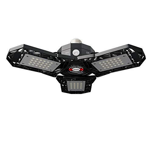 60W LED Garage Light, Super Bright 6000LM LED Shop Light with Radar Motion Switch, E26/E27 Base Ceiling Bulb with 3 Multi-Position Panels 6500K Deformable High Bay Lighting for Garage Basement