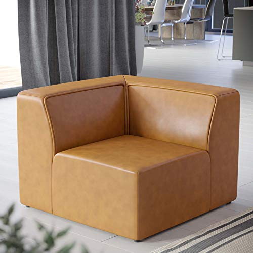 Modway Mingle Vegan Leather Sectional Sofa Corner Chair in Tan