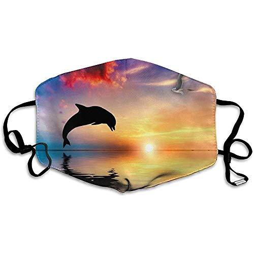 Winter nordisch wärmer,Bequeme Delfine springen Ozean Sonnenuntergang Meerestiere Gesicht Mund Mundschutze Abdeckung Mund für Erwachsene und Jugendliche
