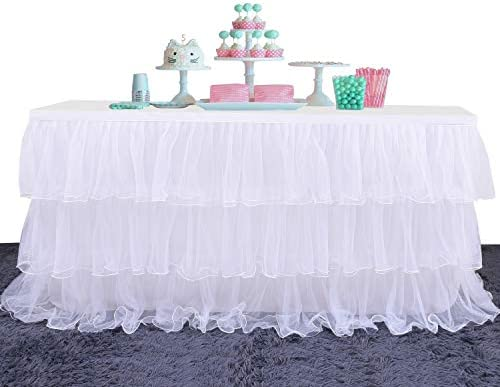 Yetomey Table Skirt for Rectangle or Round Tables Skirting Decoration Tutu Table Skirt for Birthday product image