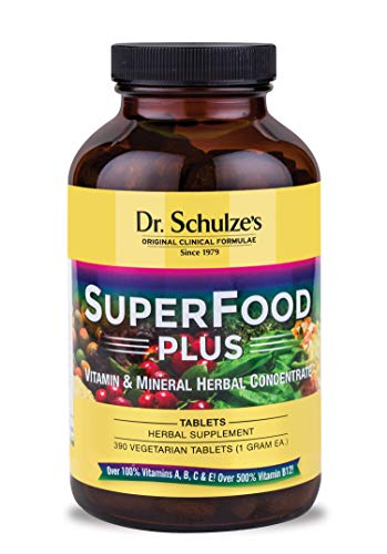 Dr. Schulze's | SuperFood Plus | Vitamin & Mineral Herbal Concentrate | Dietary Supplement | Daily Nutrition & Increased Energy | Gluten-Free & Non-GMO | Vegan | 390 Vegetarian Tablets