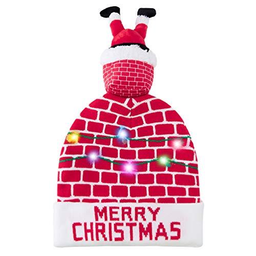 Belovecol Weihnachtsmütze LED Mütze Strickmützen Party Beleuchtung Bobble Herren Lustige Warme Neuheit Unisex Weihnachtsmütze Rot
