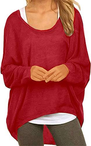 Meyison Damen Lose Asymmetrisch Sweatshirt Pullover Bluse Oberteile Oversized Tops T-Shirt Wein Rot M