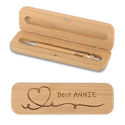CGFN personalisierter Holzkugelschreiber und Holzkiste, Bambus-Geschenkbox-Set, kann als Geschenk individuell gestaltet werden (Druckkugelschreiber)