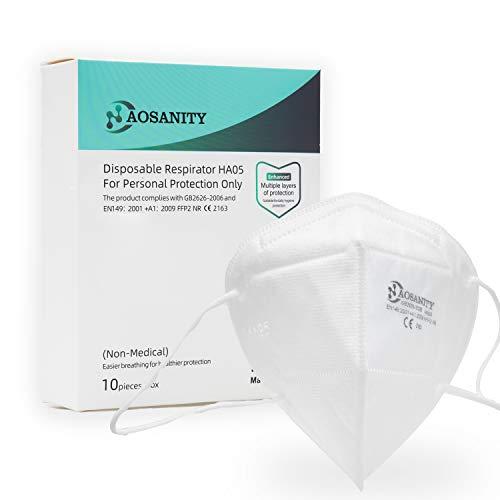 10X AOSANITY FFP2 Maske CE Zertifiziert Mundmaske Nase Mund Schutzmaske Gesichtmaske Atemschutzmaske EN149:2001+A1:2009, für Erwachsene 10 Stück A1