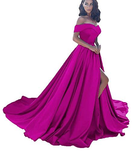 Women's Off Shoulder Formal Ball Gown Long with Slit Prom Dresses Satin Wedding Dress (Hot Pink-16)