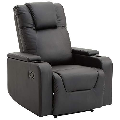 HOMCOM Relaxsessel Fernsehsessel Couch-Sessel Liegesessel mit 2 Getränkehalter Schwarz L85 × B98 × H103 cm