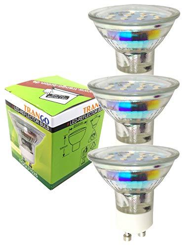 Trango 3er Pack GU10 LED Leuchtmittel 3TGGU1025-3 Watt - 3000K warmweiß zum Austausch GU10 & MR16 Halogen Leuchtmittel, für Einbauleuchten, Deckenstrahler, Einbaustrahler, Deckenleuchte, Spots