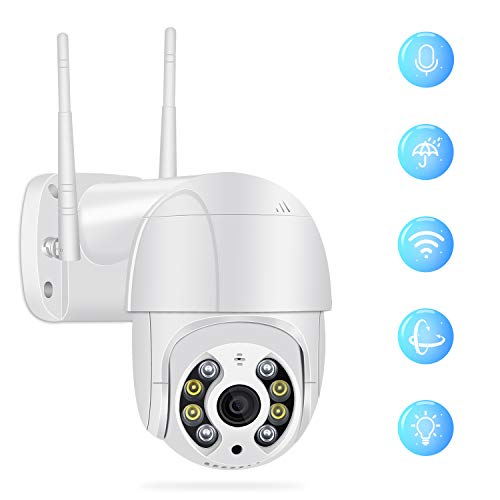 Outdoor Security Camera, Full HD 1080P Security Surveillance Cameras Outdoor Waterproof Wireless PTZ Camera with Night Vision - IP WiFi Cam Surveillance Cam Audio Motion Activated Cameras Dome