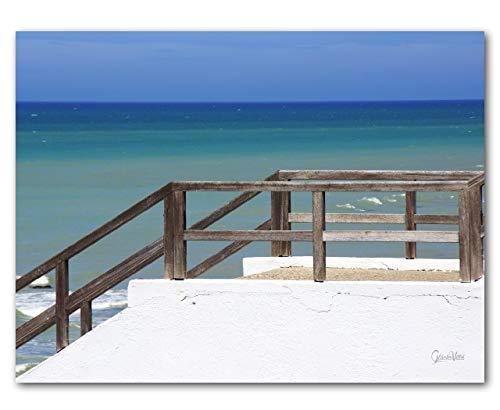 Cuadro XXL de pared, horizontal, varios tamaños, lienzo + cristal acrílico, escalera, playa, cielo, mar atlántico, Francia, Normandía, escalera, arte grande (40 x 30 cm, cristal acrílico 5 mm)