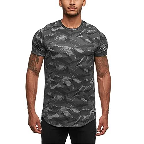 Muscle Shirt Uomo Slim Fit Tessuto Morbido Leggero E Traspirante Estate Uomo T-Shirt Lavoro T-Shirt Fitness Running Shirt Camouflage Casual Sport Style Uomo Top B-Grey XL