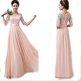 Light Pink Color Ladies Women Fashion Half Sleeves Long Dress Club Wear Night Party Dress