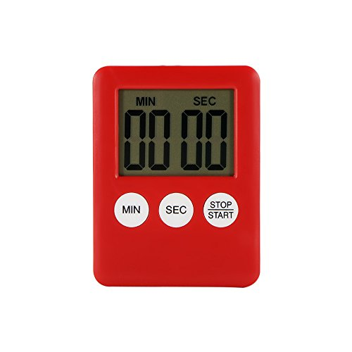 Houkiper Digital LCD Bildschirm Küche Timer Platz Kochen Timer Countdown Countdown Alarm mit Magnet (rot)