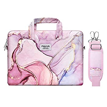 MOSISO Laptop Shoulder Bag Compatible with MacBook Pro/Air 13 inch 13-13.3 inch Notebook Computer Polyester Carrying Briefcase Sleeve with Trolley Belt Marble MO-MBH216