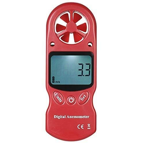 Yongenee 8 en 1 Tl-302 Anemómetro Digital Pantalla LCD Termómetro higrómetro Temperatura Humedad Velocidad del Viento Enfriamiento Presión Barométrica Rojo