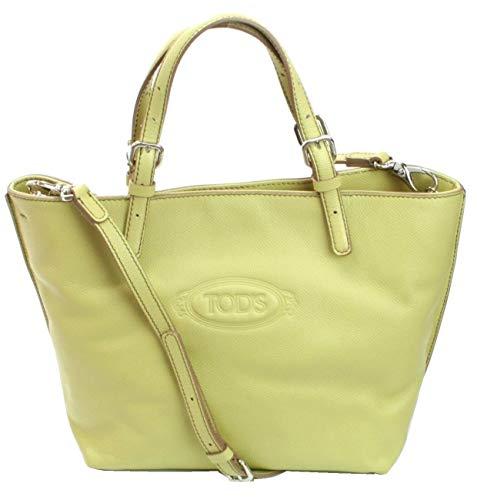 Tod's Logo Shopping Media Tas Lichtgroen Pebbled Lederen Medium Handtas RRP £520