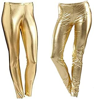 Women Metallic Leggings Foil Wet Look Shiny Ladies Pant Disco Party Club Legging#(Gold Metallic Shiny Legging#UK 12#Womens)