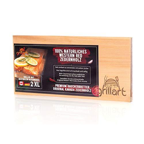 grillart® 2 Pack XL Grillbretter - Zedernholzbrett zum Grillen - Räucherbretter aus Zedernholz hergestellt aus 100% natürlichem Western Red Zedernholz für einen besonderen Grillgeschmack