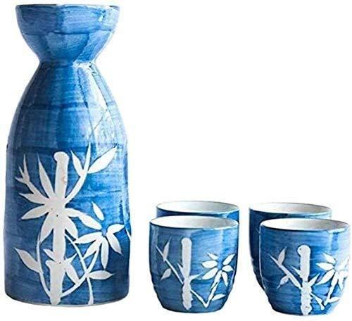 LYYF Juego japonés de 5 piezas de vino pintado a mano, estilo bambú, juego de sake de cerámica, para frío/calor, sake/shoochu/té 21218