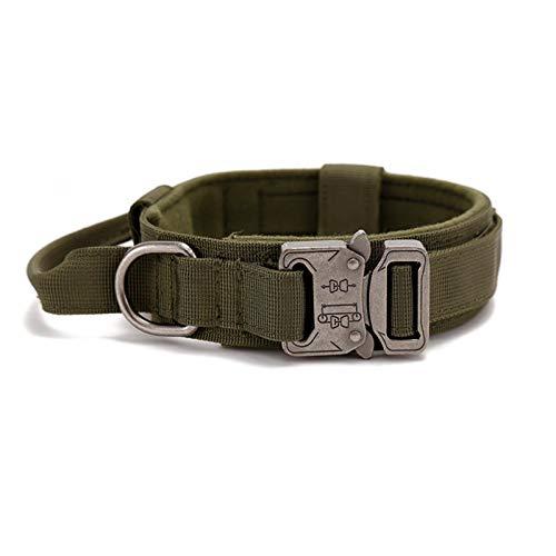 Hemisgin Collares de Perro de Nylon, Collar Perro, Collar ajustable para perros Collar resistente con asa para perros grandes, Anti-Desgaste Entrenamiento táctico al Aire Libre Cinturones de everybody
