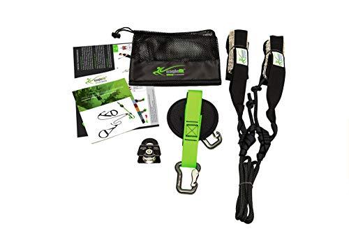 eaglefit Sling-Trainer Allround Elastic, Fitnessgerät, Schlingentrainer inkl. Umlenkrolle, Längenverstellung 90-310 cm, für Profis & Beginner, grün