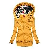 Chaqueta con capucha para mujer, ligera, parka, chaqueta de invierno, manga larga, sudadera con capucha, cremallera a la moda, abrigo de invierno, monocolor, chaqueta cálida para exterior, amarillo, M
