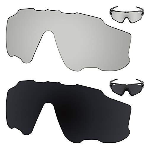 Galvanic Replacement Lenses for Oakley OO9290 Sunglass - Chrome + Black Polarized - Combo Pack
